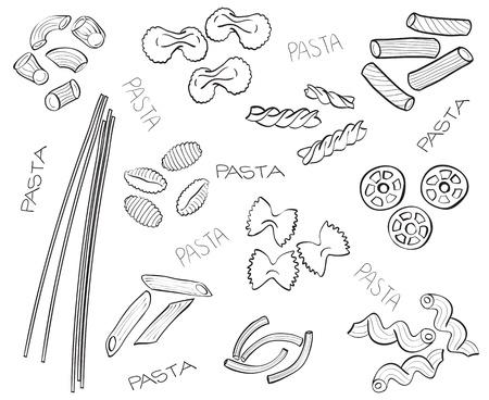 Different types of pasta - hand-drawn illustration