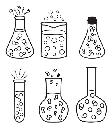 Set of chemical test tubes - hand drawn illustration