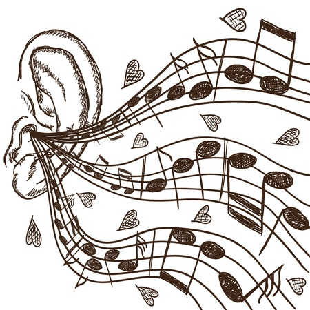 Illustration of ear and notes - hand drawn style