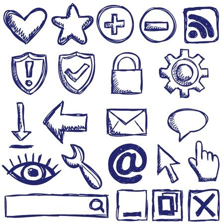 Illustration of internet web icons - hand drawn style