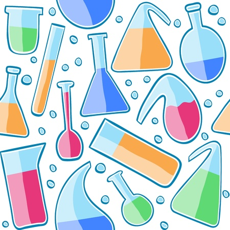 Illustration of laboratory glass, seamless pattern background
