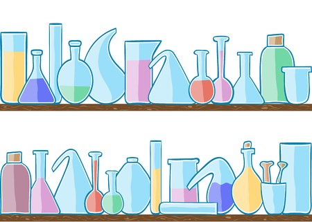 Illustration of laboratory glass, seamless pattern on shelves