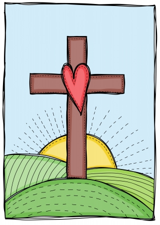 Religion - cross with heart, hills and sun illustration