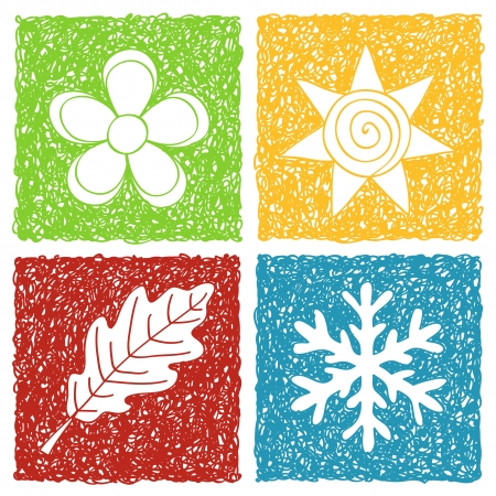 Illustration pour Illustration of four seasons icons - doodle drawings on white background - image libre de droit