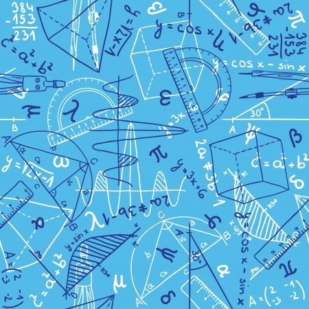 Illustration pour Seamless pattern background - illustration of mathematics drawings, doodle style - image libre de droit