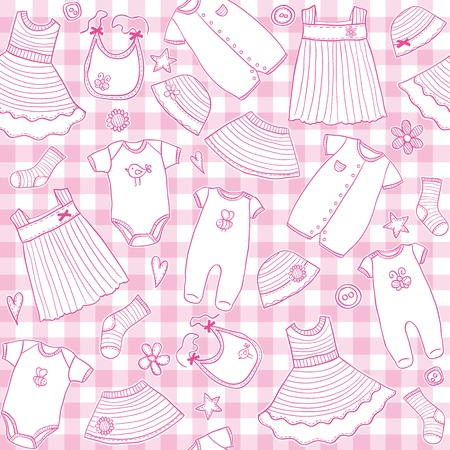 Illustration for Baby girl clothes seamless pattern, vector illustration - Royalty Free Image