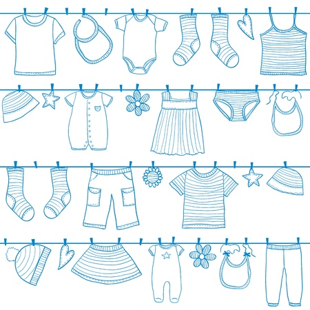 Illustration for Children and baby clothes on clothesline seamless pattern, doodle style - Royalty Free Image