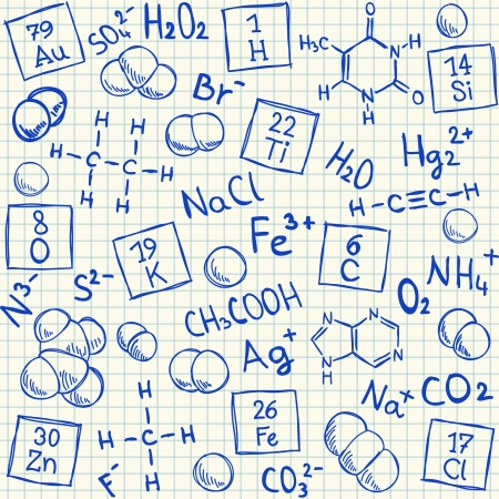 Chemical doodles on school squared paper, vector illustration