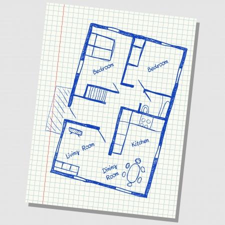 Illustration of floor plan doodle on school squared paper