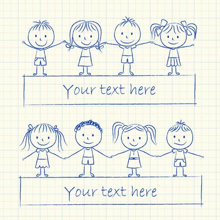 Illustration of kids holding hands - ink chalk drawing
