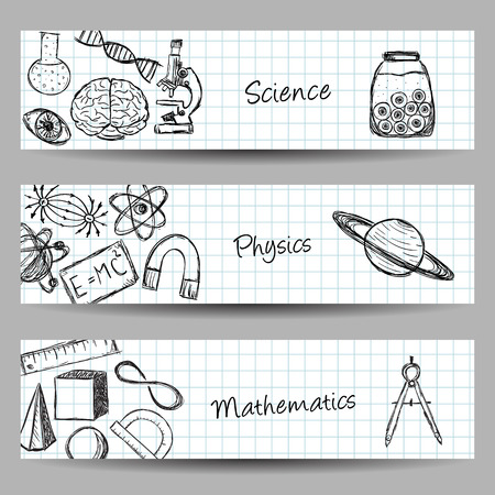 Collection of scientific illustrations on banners. Hand drawn style.