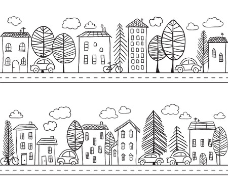 Illustration of hand drawn houses, seamless pattern