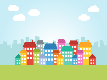 Illustration of city with colored houses and place for text