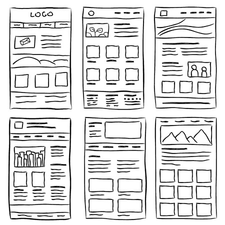Illustration for Hand drawn website layouts. doodle style design - Royalty Free Image