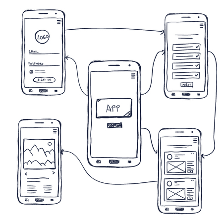 Illustration pour UI mobile app wireframe template, doodle style - image libre de droit