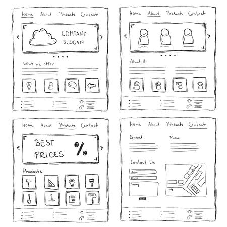 Illustration pour Hand drawn website layouts. doodle style design - image libre de droit