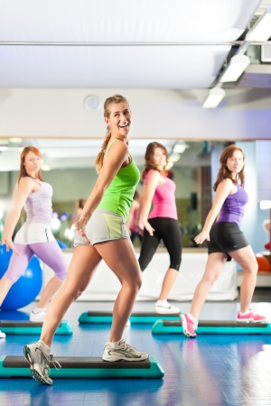 Fitness - Young women doing sports training or workout with stepper in a gym