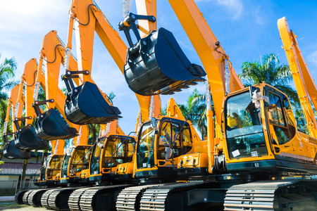 Foto de Vehicle fleet with construction machinery of building or mining company - Imagen libre de derechos