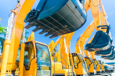 Photo for Asian Vehicle fleet with construction machinery of building or mining company - Royalty Free Image