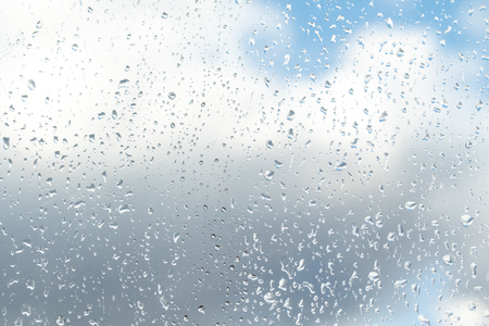 Photo for raindrops on glass sky background - Royalty Free Image