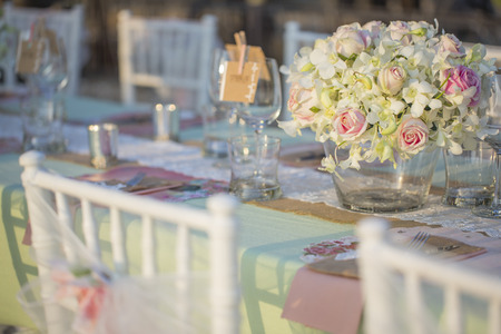 Table setting for an wedding receptionの写真素材