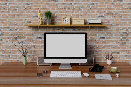 Photo pour Mock up workplace with computer pc and book shelf. - image libre de droit