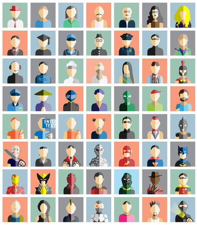 Illustration for MEGA COLLECTION 56 OF PEOPLE ICONS FLAT AVATAR - Royalty Free Image