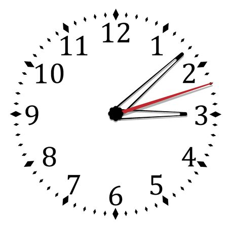 Illustration pour Simple black and white clock nineteenth edition - image libre de droit