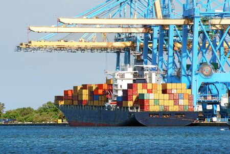 Photo for Container ships under the unloading gantry cranes. - Royalty Free Image