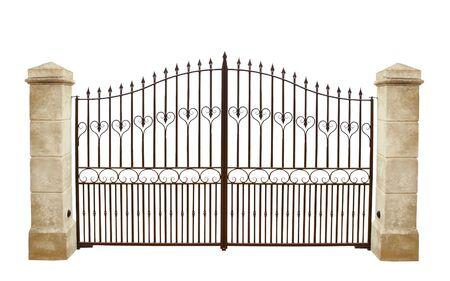 Photo pour Wrought iron gate and stone pillar isolated on white background. - image libre de droit