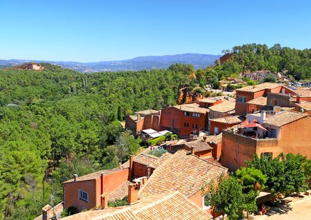 Village of Roussillon in Provence seen from above, France, Europe.