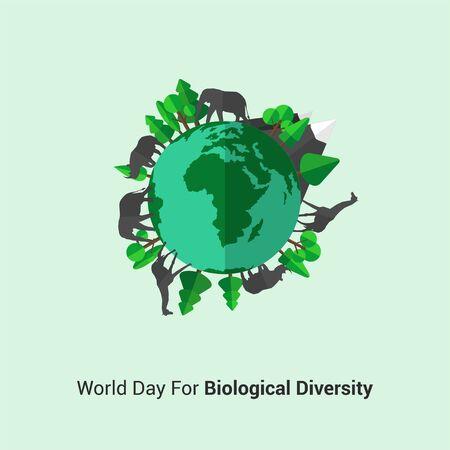 Illustration pour World Day For Biological Diversity. Wild Animal surround the earth concept design. Illustration. - image libre de droit