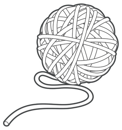 Illustration pour ball of yarn vector outline illustration isolated - image libre de droit