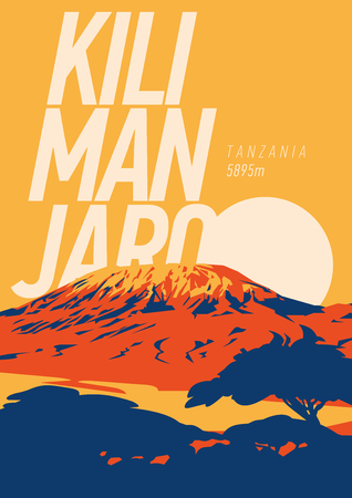 Illustration pour Mount Kilimanjaro in Africa, Tanzania outdoor adventure poster. Higest volcano on Earth. - image libre de droit