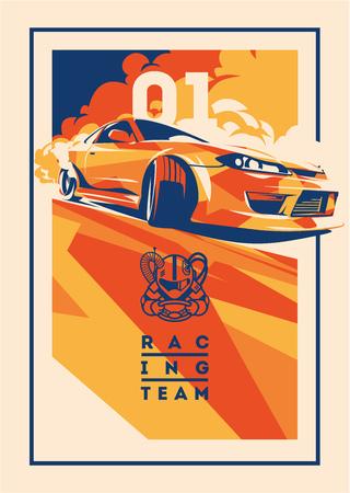 Illustration pour Burnout car, Japanese drift sport, Street racing - image libre de droit
