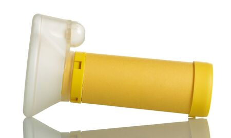 Photo pour Inhaler spacer for kids isolated on white background - image libre de droit