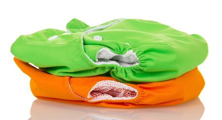 Photo for Two modern environmental diaper isolated on white background. - Royalty Free Image