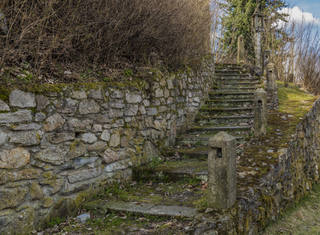 Old stairs near church in Horni Slavkov town in west Bohemia