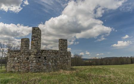 Scaffold place near Horni Slavkov town on green meadow in spring day