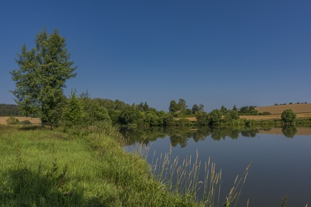 Valcha pond near Trest town in south Bohemia with hot sunny morning