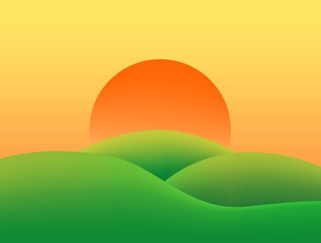 Illustration pour Summer country landscape with grassy green hills at sunset with orange and yellow sky sun - image libre de droit