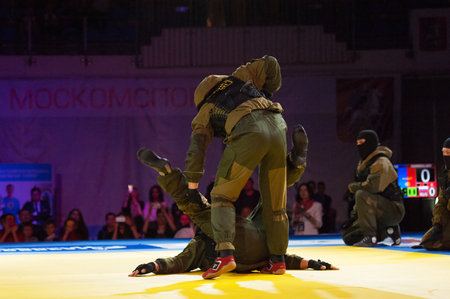 RUSSIA, MOSCOW - APRIL 18 2015: Unidentified SWAT soldiers fight on World Hand to hand combat Championship in Moscow, Russia, 2015