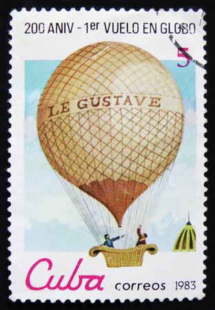 MOSCOW, RUSSIA - APRIL 2, 2017: A post stamp printed in Cuba shows Montgolfier balloon Le Gustave, series Bicentenary of the 1st Manned Balloon Flight, 200 anniversary, circa 1983