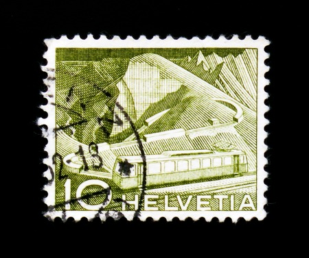 MOSCOW, RUSSIA - SEPTEMBER 3, 2017: A stamp printed in Switzerland shows Mountain railway at Rocher de Naye, Landscapes and technics serie serie, circa 1952