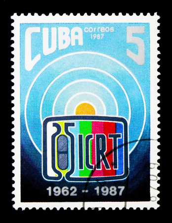 MOSCOW, RUSSIA - NOVEMBER 25, 2017: A stamp printed in Cuba devoted to 25th anniversary ICRT (Cuban Institute of Radio and Televisi, serie, circa 1987