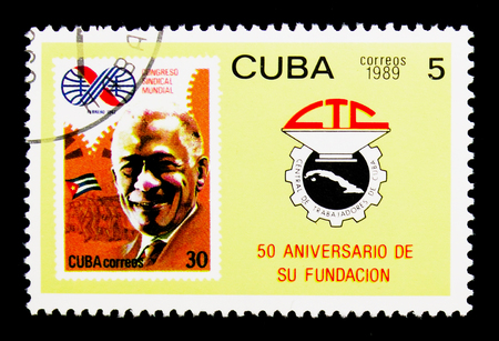MOSCOW, RUSSIA - NOVEMBER 25, 2017: A stamp printed in Cuba shows Cuban stamp 2477, CTC emblem, Central Organisation Cuban Trade Unions serie, circa 1989