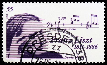 MOSCOW, RUSSIA - FEBRUARY 20, 2019: A stamp printed in Germany, Federal Republic, shows Composer Franz Liszt (1811-1886), Birth Bicenternary of Franz Liszt serie, circa 2011