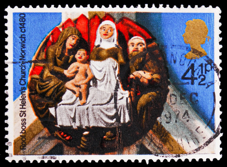 MOSCOW, RUSSIA - FEBRUARY 21, 2019: A stamp printed in United Kingdom shows The Nativity (St Helen's Church, Norwich, 1480), Christmas 1974 - Church Roof Bosses serie, circa 1974
