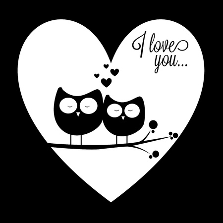 two owls in love on abstract heart love background