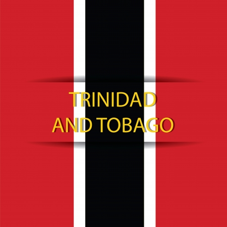 Trinidad y Tobago text on special background allusive to the flag
